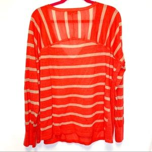 LOFT Tops - Ann Taylor Loft coral and beige stripe top
